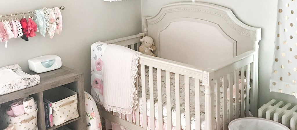 Baby Sarina's Pink And Gray Floral Nursery